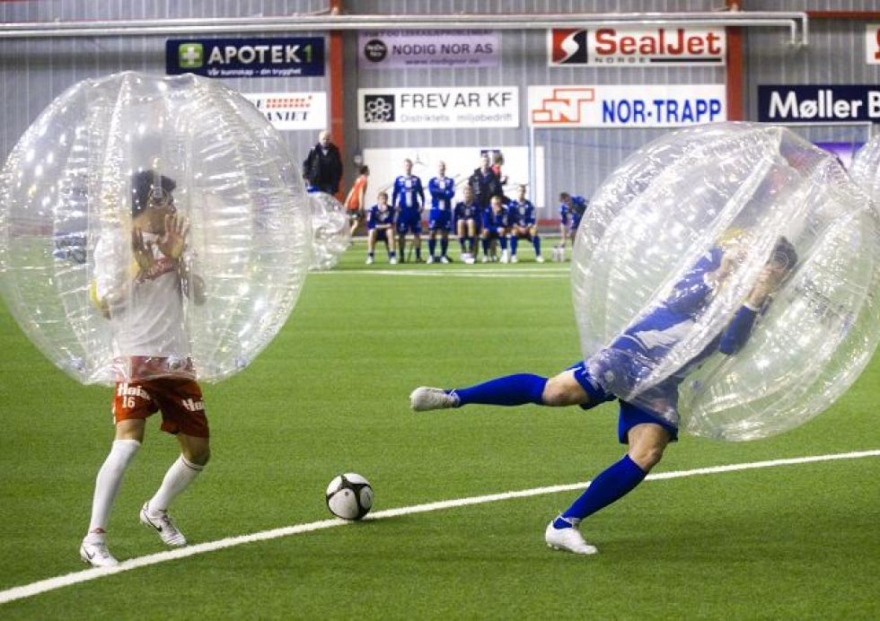 Boblefotball (bubble football) in action...
