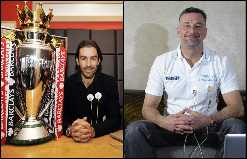 Robert Pires & John Aldridge try out the #YouAreFootball heart rate monitors.